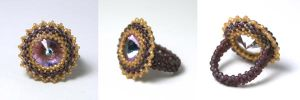 Purple/Gold Beaded Ring by kokito85