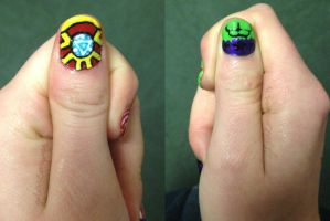 Age of Ultron Nail Art (thumbs) by goldenConnpass