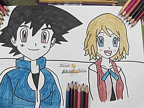 Serena and Ash~Hand Drawing-10 by TheKalosQueenSerena