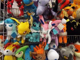 (PKM)Eeveeloutions Plushies at Supercon 2014. by KrazyKari