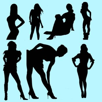 Female silhouette brushes 2 by IceXsainT