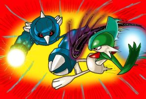 Metang Vs. Gallade by Skull-Splinters