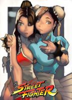 mai and chun li by yaminoshi