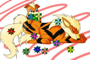 Arcanine and growlithe Sleep Flower prank by enyce122