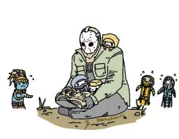 Jason reading a book to the smol ones by zetsumeininja