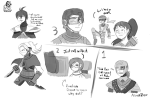Code Trauma Concept Sketches by Aileen-Rose