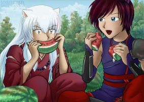 The melon thieves ~ Inuyasha and Wolf by SchneeAmsel