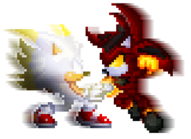 True Hyper Sonic Vs Hell Reaper Shadow by MrMaclicious