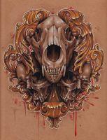 10x10 Colored Pencil Skulls by jackierabbit12