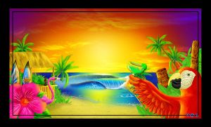 parrothead beach party by Locopelli
