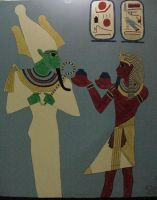 Osiris and Horemheb Mural by HeatherD