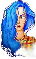girl with blue hair by Alexandra-Mad