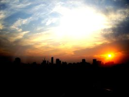 sunset in Tokyo by leorawr