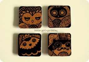Owl Cork Magnets 01 by blackeyebags