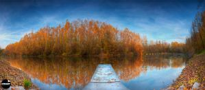 Autumn  over lake Jarun by Q-harrr