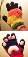 fursuit paws (rainbow) by PickleMittens