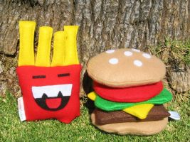 Burger and Fries Plush by manriquez
