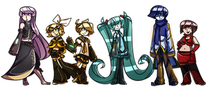 Vocaloid Lineup: Crypton (redone) by Coffee-and-Paperbags