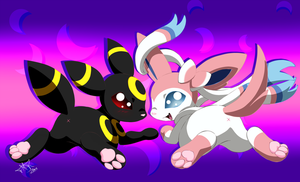 Sylveon and Umbreon by Yoko-Uzumaki