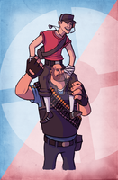 TF2 Scout and Heavy Carry On by SucittarSucivron