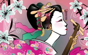Oiran Wallpaper by magnesium-cookie