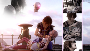 Noel and Serah Wallpaper SPOILER WARNING by mizukimarie