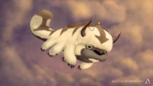 Aang and Appa Soaring the Skies by Amarzbar