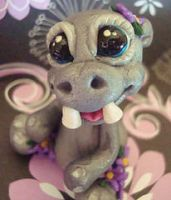 polymer clay hippo violete by crazylittlecritters