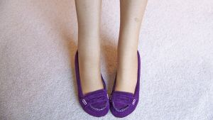 Purple Suede Penny Loafers and Nylons by peerlesspenny