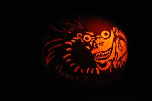Death Note: Ryuk Pumpkin Carving by puppichu