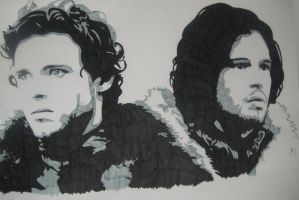 Robb Stark And Jon Snow WIP by ladyconniver