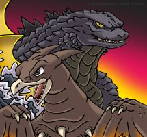 Godzilla and Rodan by KaijuDuke