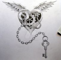 steam punk heart and chain by knotty-inks