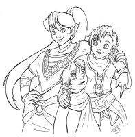 dragon siblings - lineart by Wazaga