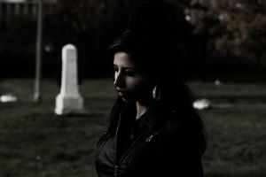 Amy Winehouse ghost on the cemetery by AndrewKalash