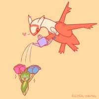 Latias and Roselia by poplarleaves