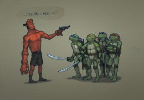 Hellboy meets the turtles by suthnmeh