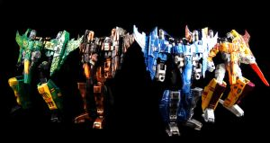 All 3 Cybertron Rainmakers + Sunstorm customs by CascadiaSci