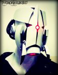 The Aperture Science Sentry turret soldier helmet by TwoHornsUnited