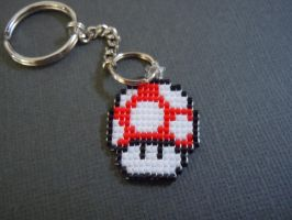 Woven Seed Bead Red Mushroom Keychain by Pixelosis