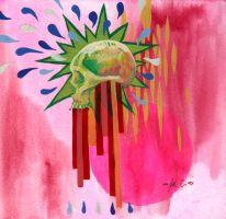 Pink and Green Skull with Stripes by manfishinc