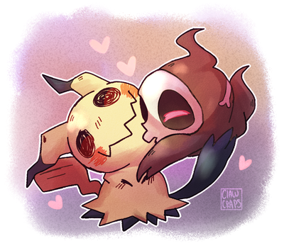 Duskull and Mimikyu by ShounenRaccoon