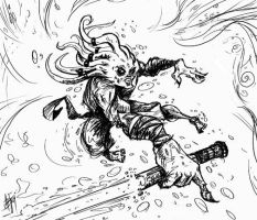 jedi kit fisto under water ink sketch by ADE-doodles