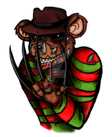 Freddy Fazbear as Freddy Krueger t shirt design by Bat13SJx