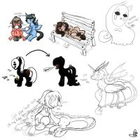 Ponied Away Sketch Dump by OddCurio