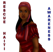 Ribbon Awareness: Red and Blue: Rescue Haiti by FalseDisposition