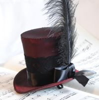 Burgundy Gothic Mini Top Hat by RagDolliesMadhouse
