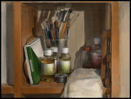 Still life with oil brushes by Emil-K