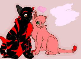 Shadowpelt and Amyflower: surprise cuddle by ShadowBonadow