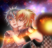 Kise and Kuroko somewhere in outer space by shinekonoyaro